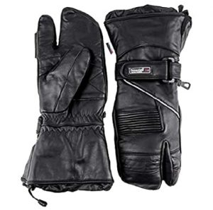 Typhoon Helmets Premium Leather Snowmobile 3-Finger Trigger Finger Gloves Mittens